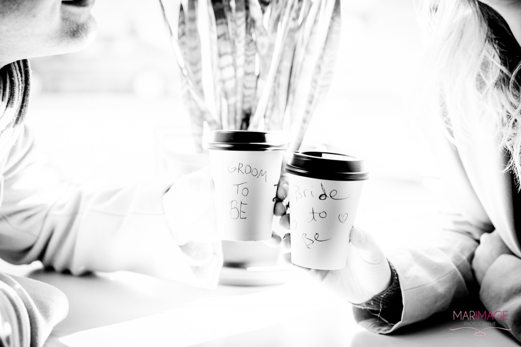 Groom Bride to be wedding coffee café
